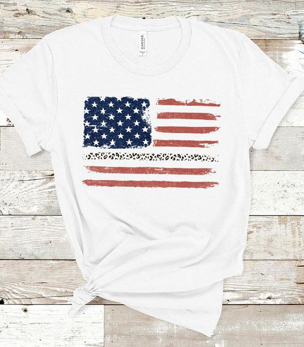 APPAREL/ VEST :: GRAPHIC TEES :: Wholesale American Flag Leopard Vintage Tshirt