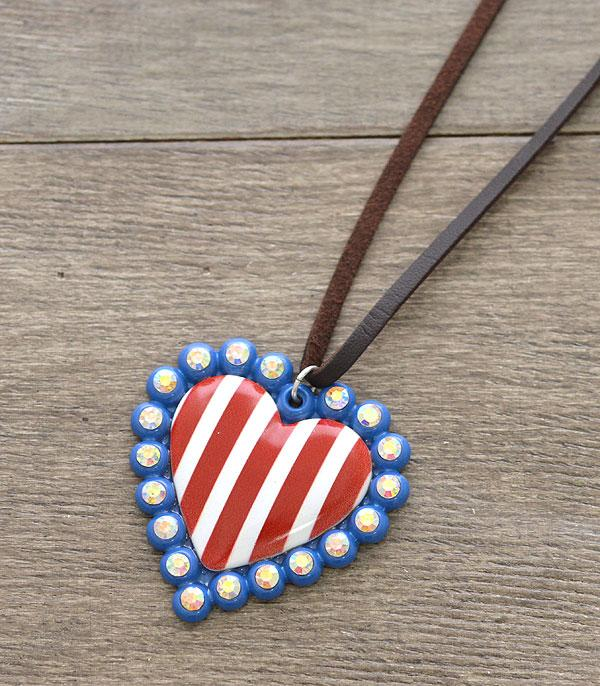 New Arrival :: Wholesale Patriotic Heart Pendant Long Necklace
