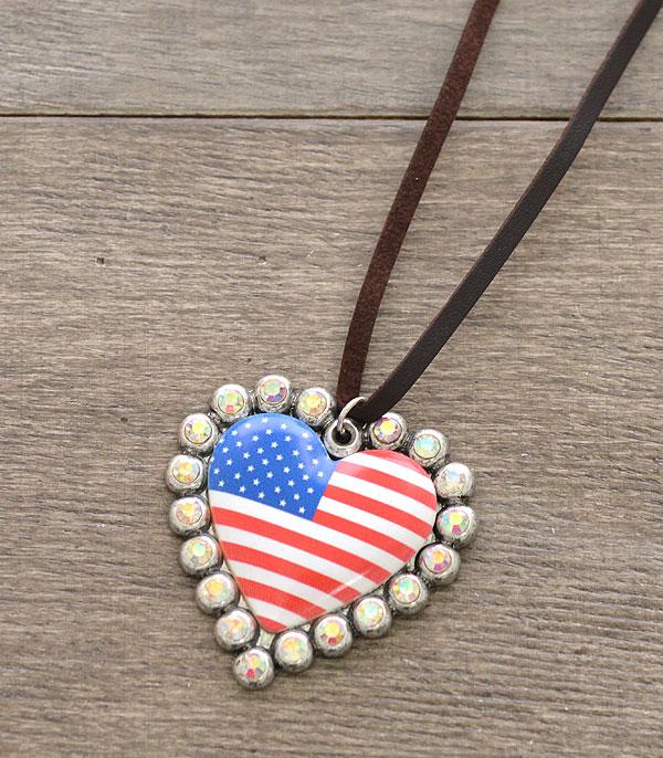 New Arrival :: Wholesale USA Flag Heart Pendant Necklace