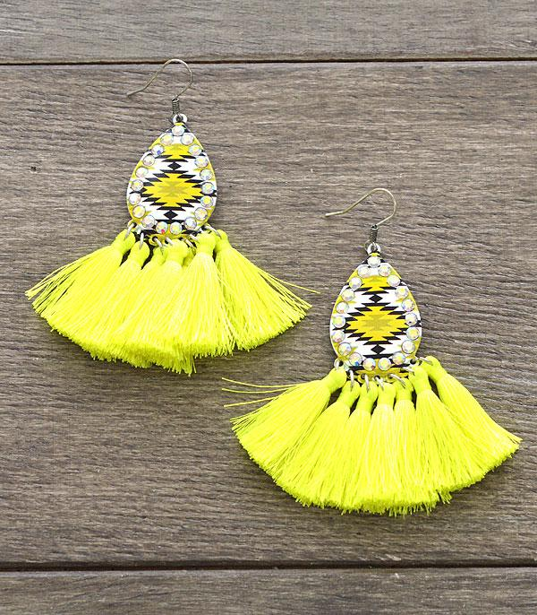 New Arrival :: Wholesale Aztec Tassel Teardrop Earrings