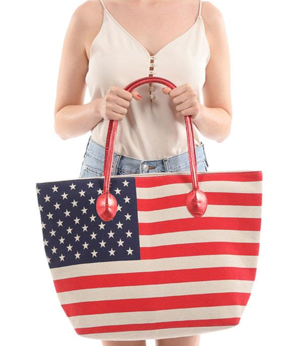 New Arrival :: Wholesale American Flag Canvas Tote Bag