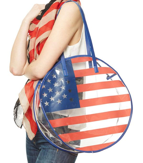 New Arrival :: Wholesale American Flag PU Round Beach Bag