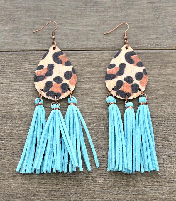 New Arrival :: Wholesale Leopard Teardrop Tassel Earrings