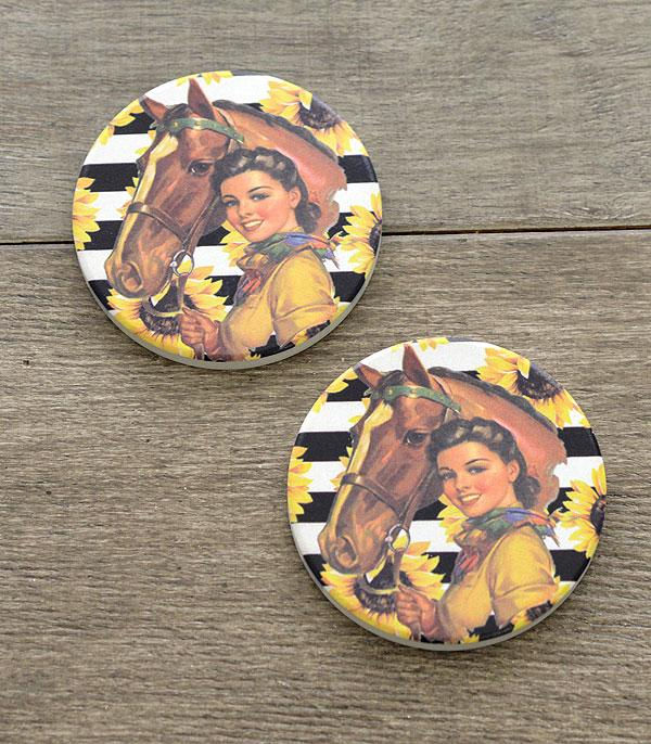 New Arrival :: Wholesale Cowgirl Western Car Coaster Set