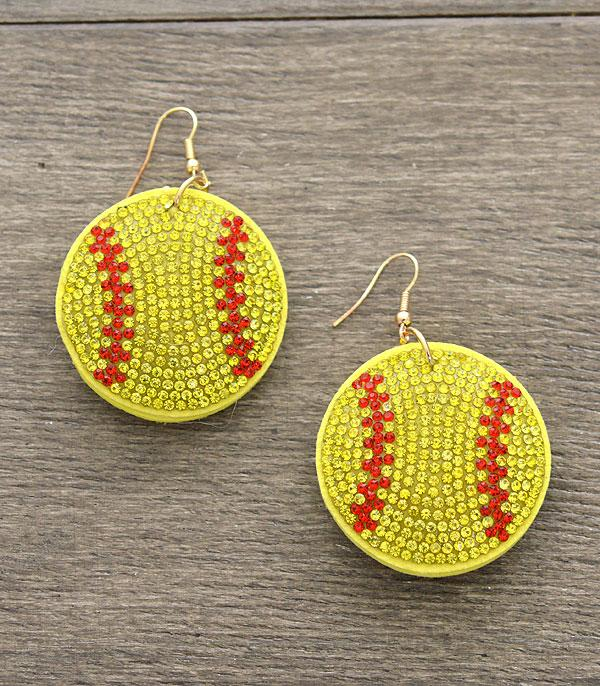 New Arrival :: Wholesale Bling Softball Earrings