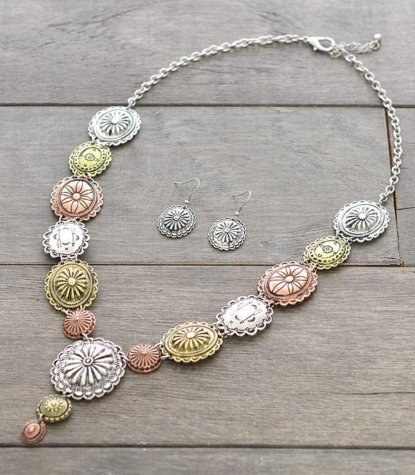 New Arrival :: Wholesale Western Silver Concho Necklace