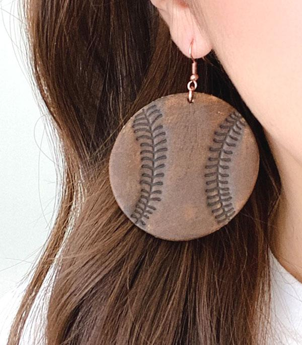 New Arrival :: Wholesale Genuine Leather Baseball Earrings