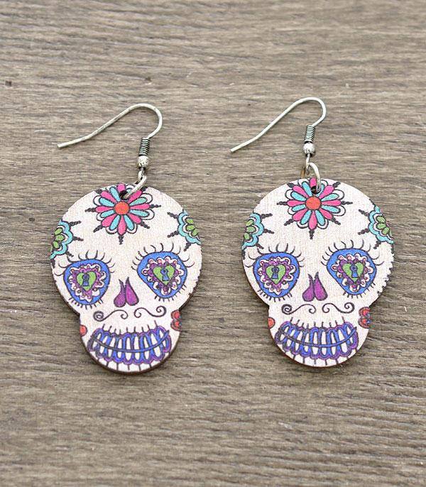 New Arrival :: Wholesale Sugar Skull Wood Earrings