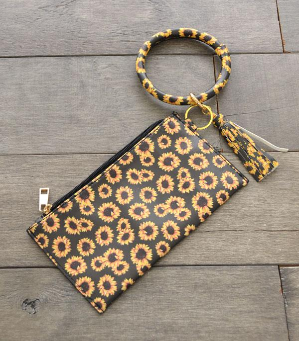 New Arrival :: Wholesale Sunflower Print Bangle Wristlet Pouch