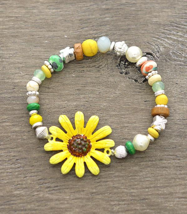 New Arrival :: Wholesale Sunflower Stretch Bracelet