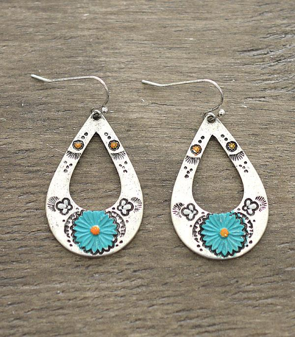 New Arrival :: Wholesale Turquoise Flower Teardrop Earrings