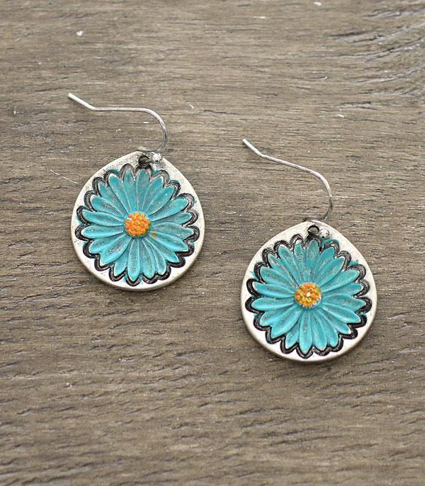 New Arrival :: Wholesale Turquoise Flower Earrings