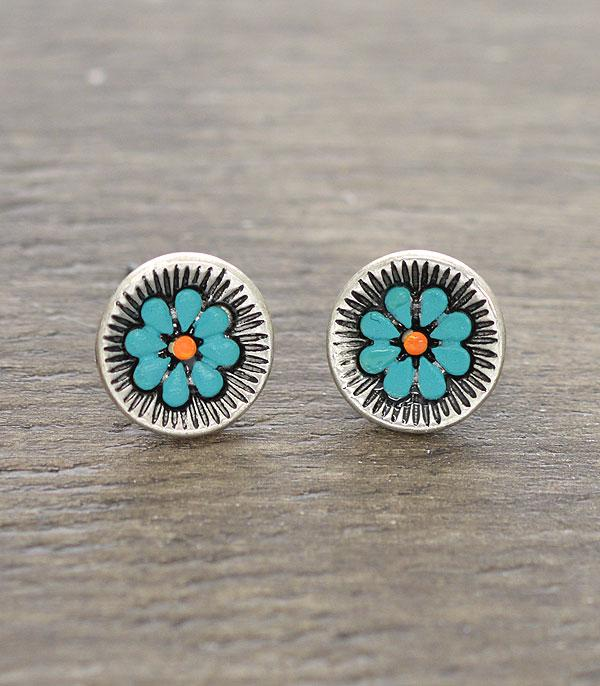 New Arrival :: Wholesale Turquoise Flower Stud Earrings