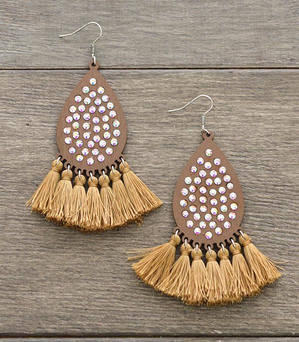 New Arrival :: Wholesale Bling Teardrop Tassel Earrings
