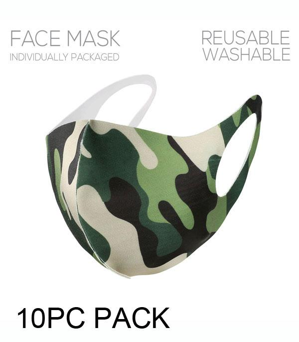 New Arrival :: Wholesale 10PC Pack Camo Print Face Mask