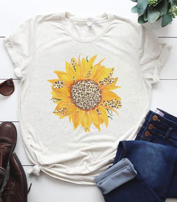 New Arrival :: Wholesale Leopard Sunflower Vintage Tshirt
