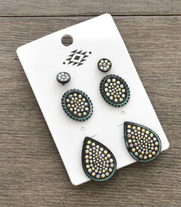 New Arrival :: Wholesale 3PC Set Rhinestone Earrings