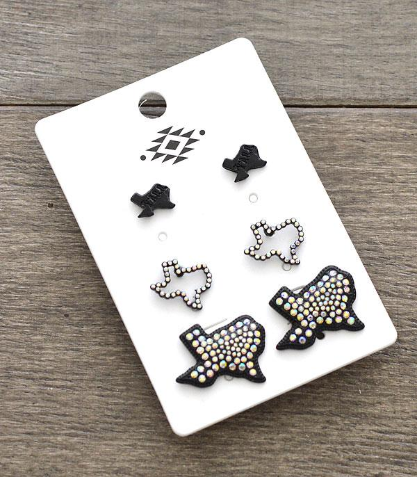 New Arrival :: Wholesale 3PC Set Texas Map Earrings