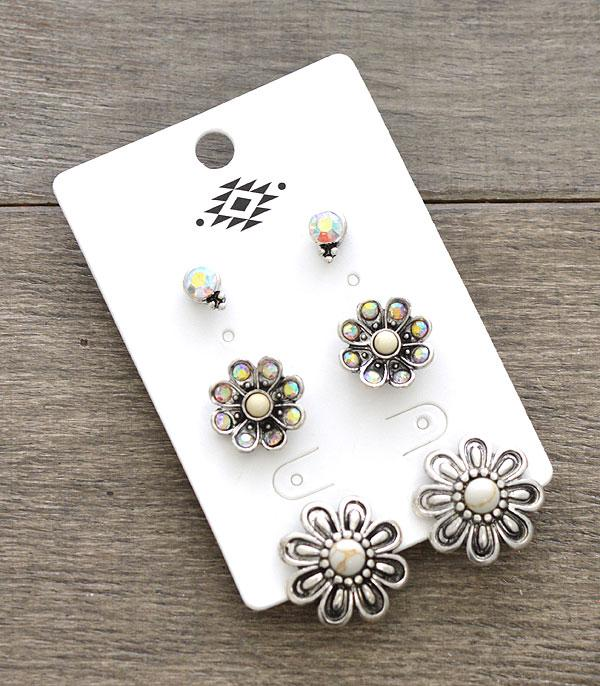 New Arrival :: Wholesale 3PC Set Flower Earrings
