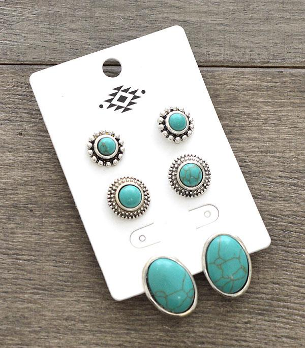 New Arrival :: Wholesale 3PC Set Turquoise Western Earrings