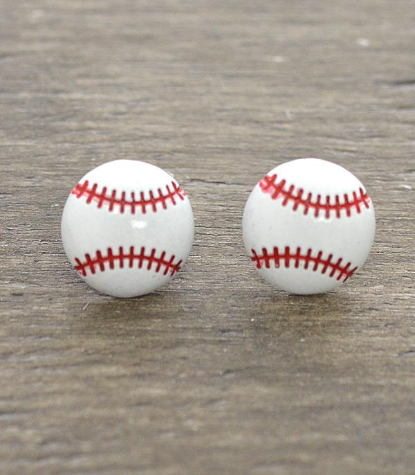 New Arrival :: Wholesale Baseball Stud Earrings