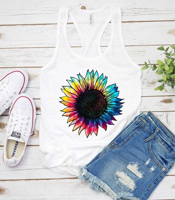 New Arrival :: Wholesale Tie Dye Sunflower Racerback Tanktop