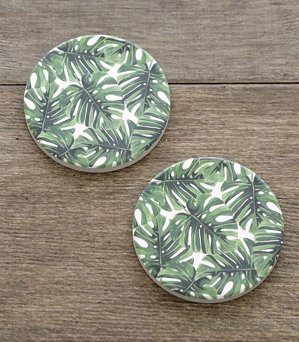 New Arrival :: Wholesale Banana Leaf Print Car Coaster Set