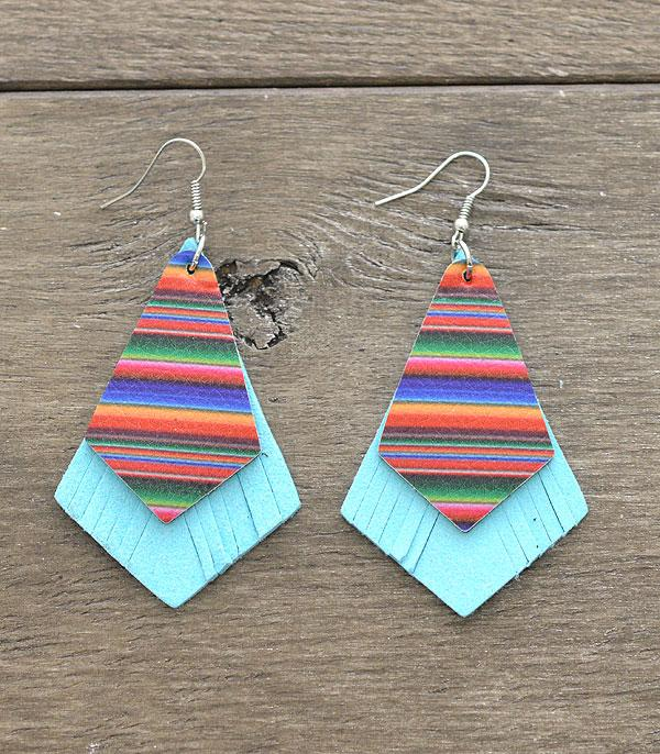 New Arrival :: Wholesale Leather Serape Print Earrings
