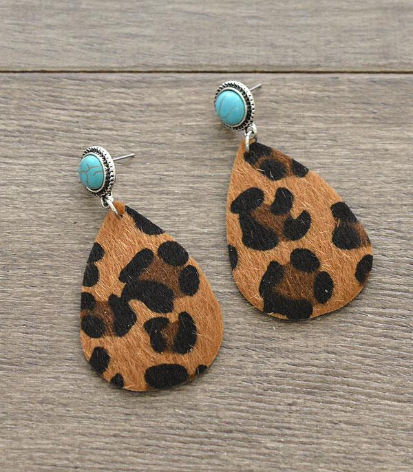 New Arrival :: Wholesale Turquoise Animal Print Earrings