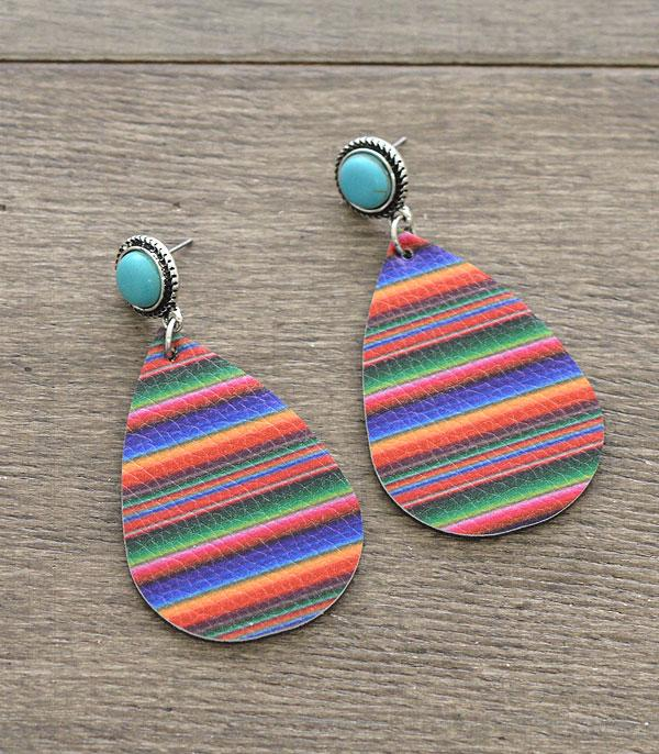 New Arrival :: Wholesale Turquoise Serape Teardrop Earrings