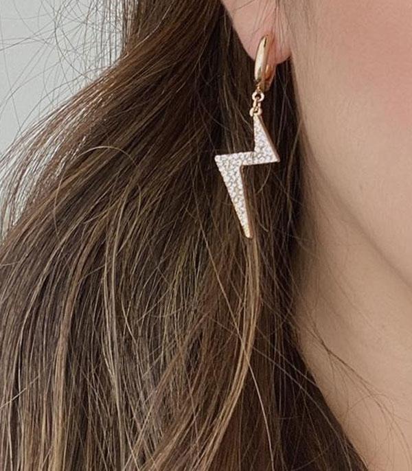 New Arrival :: Wholesale Lightning Bolt Rhinestone Earrings