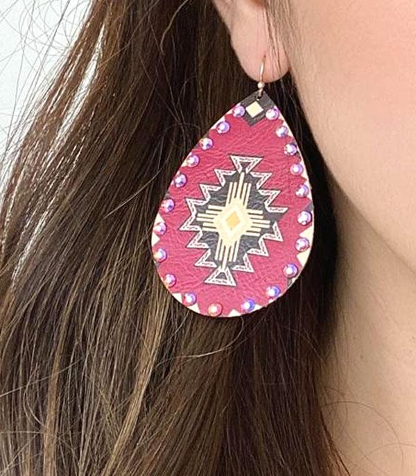 New Arrival :: Wholesale Western Print Teardrop Earrings