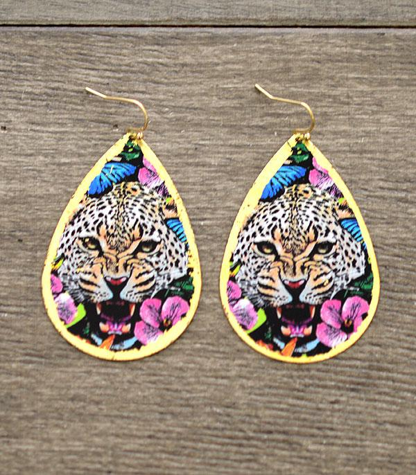 New Arrival :: Wholesale Leopard Floral Teardrop Earrings