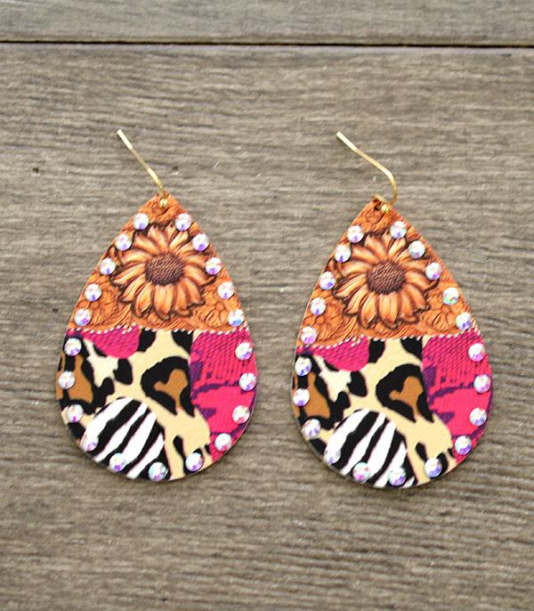 New Arrival :: Wholesale Sunflower Animal Print Teardrop Earrings