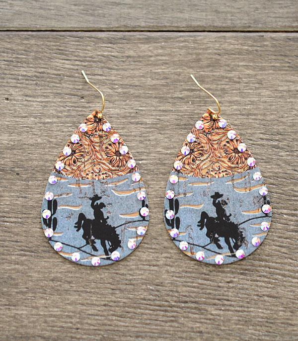 New Arrival :: Wholesale Western Cowboy Teardrop Earrings
