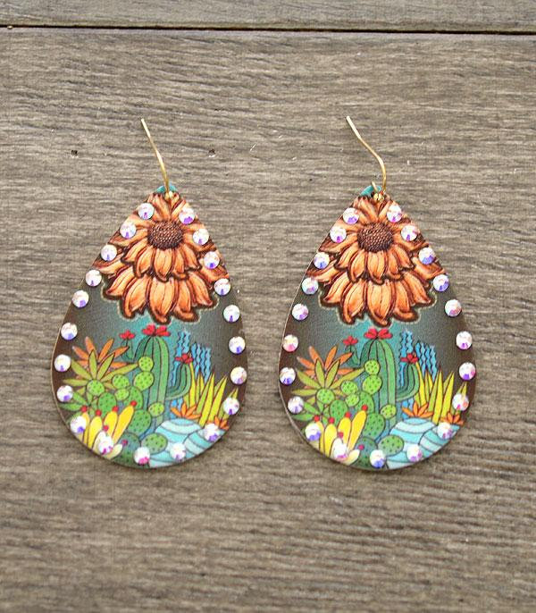 New Arrival :: Wholesale Sunflower Cactus Teardrop Earrings