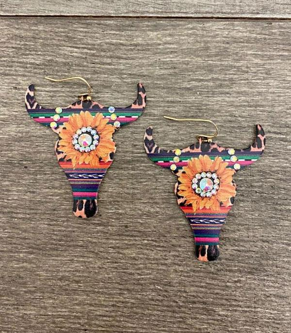 New Arrival :: Wholesale Serape Longhorn Earrings