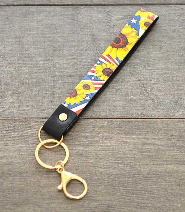New Arrival :: Wholesale Sunflower Faux Leather Wristlet Keychain