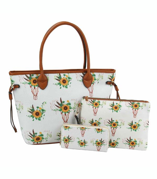 New Arrival :: Wholesale Western Sunflower Bull Skull Set Bag