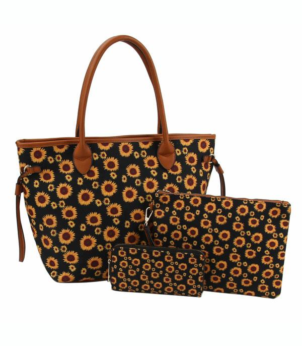 New Arrival :: Wholesale Sunflower Print 3 In 1 Set Bag