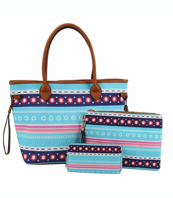 New Arrival :: Wholesale Western Aztec Print 3 In 1 Set Bag