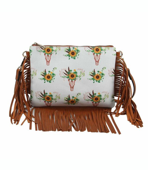 New Arrival :: Wholesale Sunflower Bull Skull Fringed Crossbody