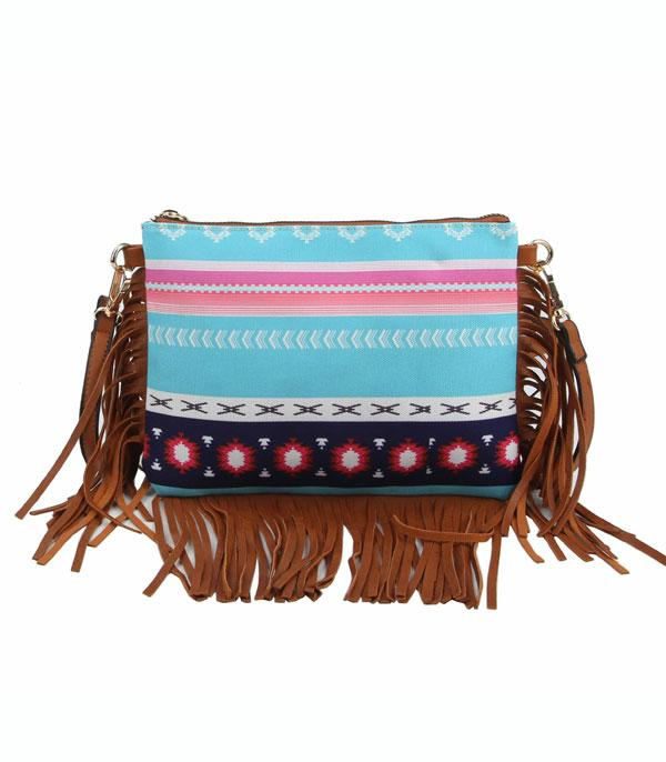 New Arrival :: Wholesale Aztec Canvas Fringed Crossbody Bag