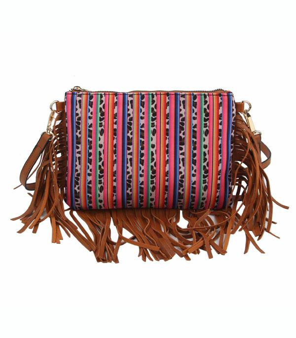 New Arrival :: Wholesale Serape Leopard Fringed Crossbody Bag