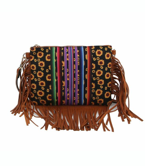 New Arrival :: Wholesale Sunflower Serape Fringed Crossbody Bag