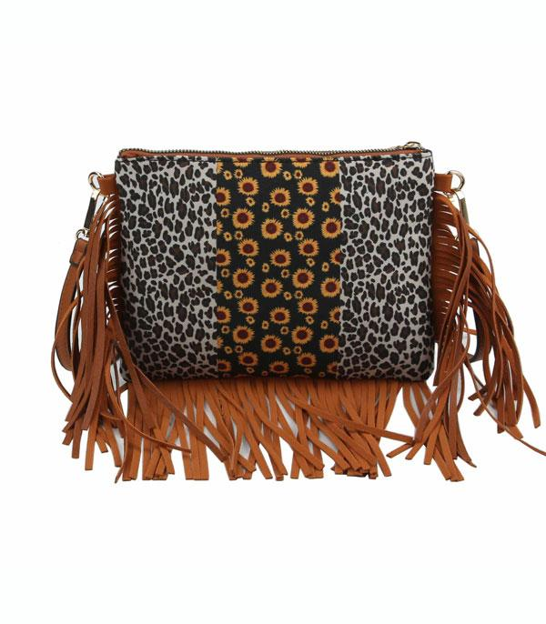 New Arrival :: Wholesale Sunflower Leopard Fringed Crossbody Bag