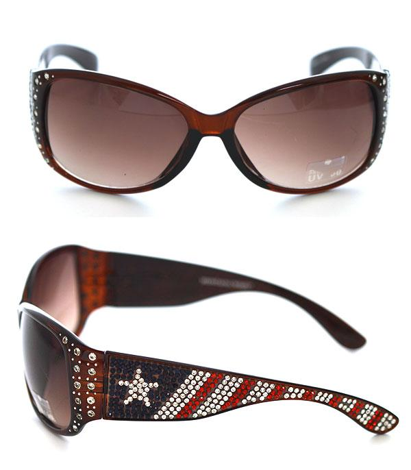 New Arrival :: Wholesale US Flag Bling Sunglasses