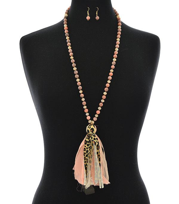 New Arrival :: Wholesale Leopard Lace Tassel Necklace Set