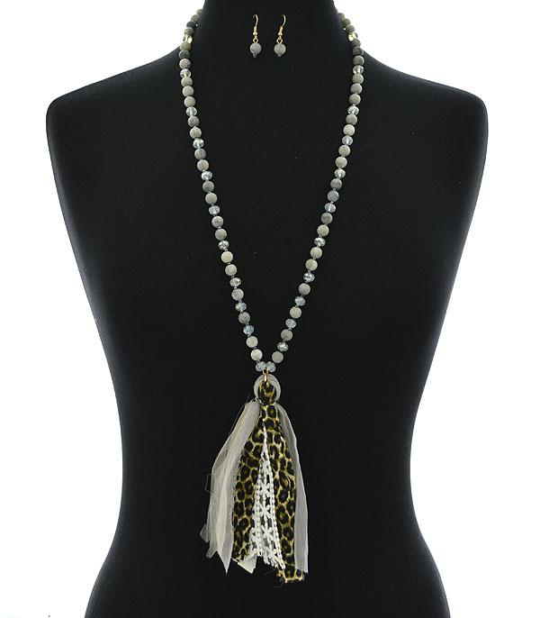 New Arrival :: Wholesale Leopard Lace Tassel Necklace