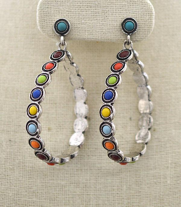 New Arrival :: Wholesale Turquoise Teardrop Hoop Earrings